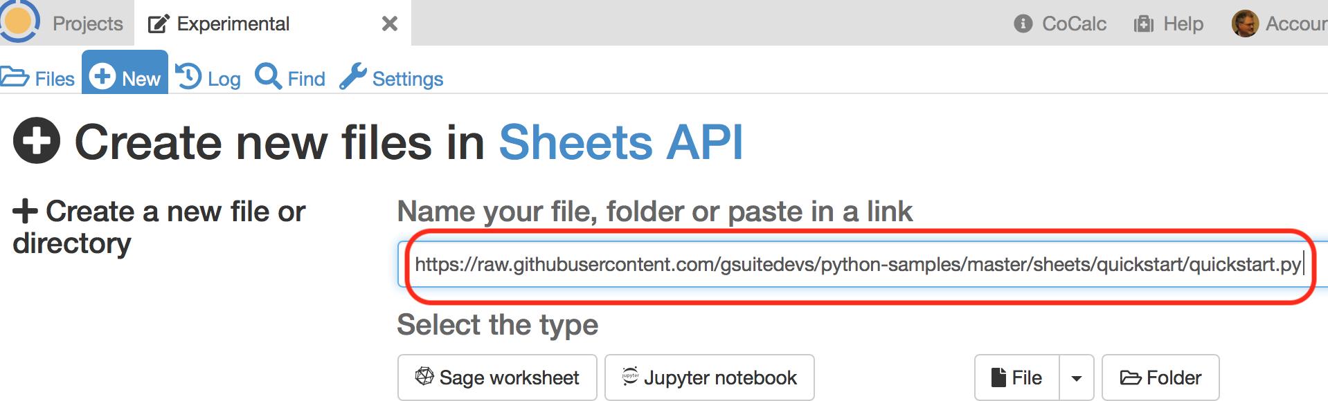 Google Sheets API Demo — CoCalc Manual documentation